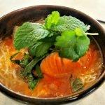 salmon noodle soup bowl