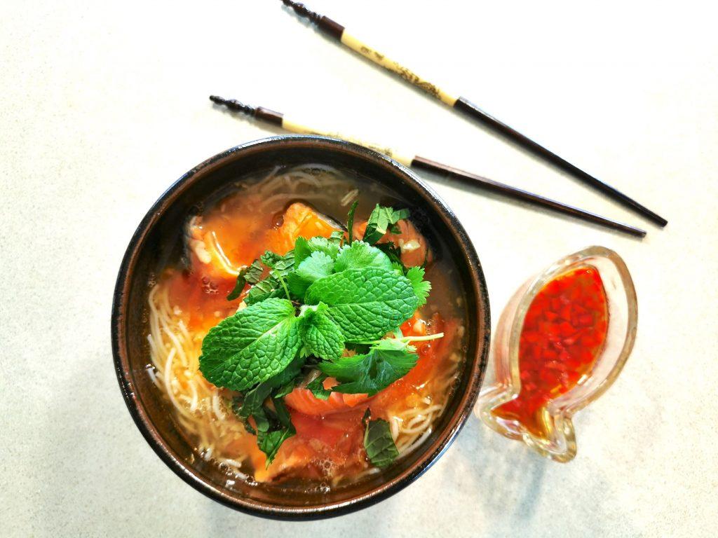 salmon noodle soup serve with fish sauce